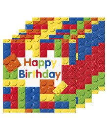 Celebration Essentials Luncheon Napkins Building Blocks Design Pack of 16 - Multicolor
