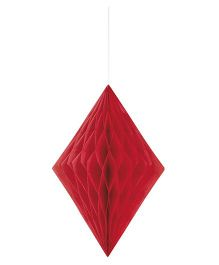 Celebration Essentials Diamond Shape Hanging Tissue Honeycomb - Red