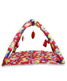 Babies Bloom Play Gym With Mosquito Net Teddy Print - Red