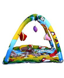 Babies Bloom Play Gym With Mosquito Net Angry Bird Print - Yellow Blue