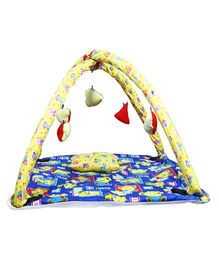 Babies Bloom Play Gym With Mosquito Net Teddy Print - Blue Yellow