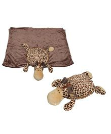 Babies Bloom Giraffe Shaped Mink Pillow Cum Blanket - Brown