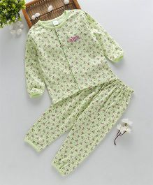 ToffyHouse Full Sleeves Night Suit Floral Print - Light Green