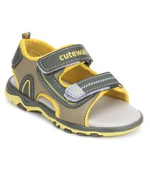 Cute Walk by Babyhug Sandals Dual Velcro Closure - Yellow Light Olive Green