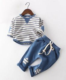 Pre Order - Awabox Striped Tee With Pants - Navy