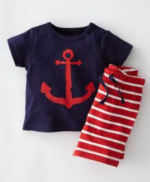 Pre Order - Awabox Anchor Print Top With Striped Shorts - Navy