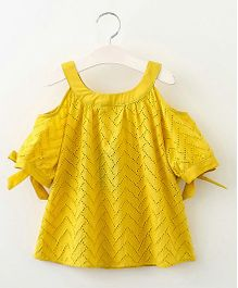 Pre Order - Awabox Chevron Design Cold Shoulder Top - Yellow