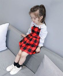 Pre Order - Awabox Checked Pinafore Dress - Red