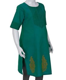 Kriti Three Fourth Sleeves Maternity Nursing Kurti - Sea Green