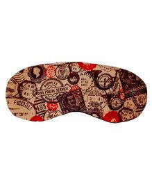 The Crazy My Eye Mask Vintage Stamps Print - Beige & Multi Colour