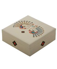 The Crazy Me Hand Painted Wooden Jewellery Box Peacock Design - Cream