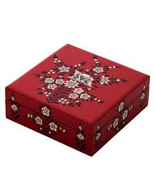 The Crazy Me Hand Painted Wooden Jewellery Box Floral Design - Maroon