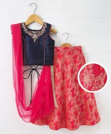 Babyhug Sleeveless Lehenga Set With Dupatta Floral Print - Navy Blue Red