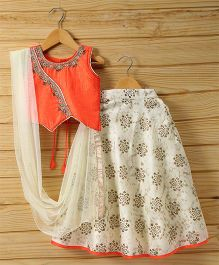 Babyhug Sleeveless Lehenga Set With Dupatta Floral Design - Orange Off White