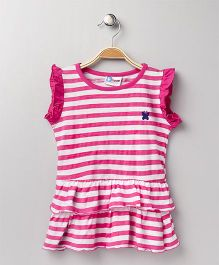 Eteenz Flutter Sleeves Dress Stripes Pattern - Fuchsia