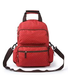 T-Bags Backpack Style Diaper Bag Dotted Print - Red