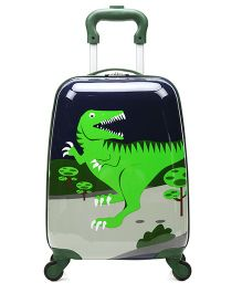 T-Bags Luggage Trolley Bag Dino Print Green - 16 inches