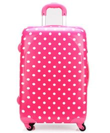 T-Bags Luggage Trolley Bag Dot Print Pink - 21.6 Inches