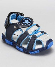 Cute Walk by Babyhug Sandals Velcro Closure Star Patch - Blue & White