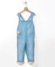 Pluie Ice Wash Denim Dungaree With Fabric Brooch - Blue