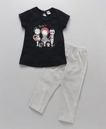 Teddy Half Sleeves Top & Pajama Night Suit Printed - Black