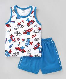 Teddy Sleeveless T-Shirt And Shorts Car & Bear Print - White Blue