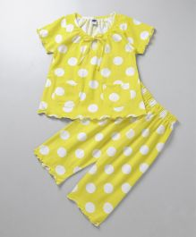 Teddy Half Sleeves Night Suit Polka Dots Print - Yellow