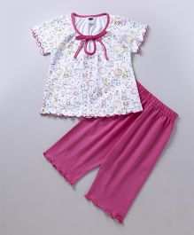 Teddy Short Sleeves Night Suit Bubble Print - White Pink