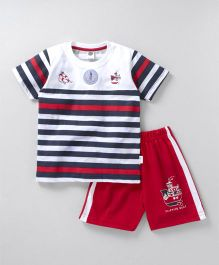Teddy Half Sleeves Stripe T-Shirt And Shorts Ship Print - White Red