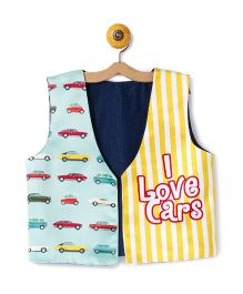 Shor Sharaba I Love Cars Print Jacket - Blue & Yellow