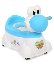 Musical Potty Chair With Wheels Cow Design - Blue White