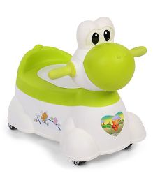 Musical Potty Chair With Wheels Cow Design - Green White