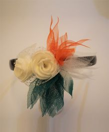 Many frocks & Tricolor Net Flower & Rose Hairband - Orange