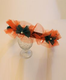 Many frocks & Tricolor Net Ruffle & Bow Hairband - Orange