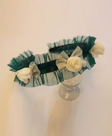 Many frocks & Tricolor Net Ruffle & Bow Hairband - Green