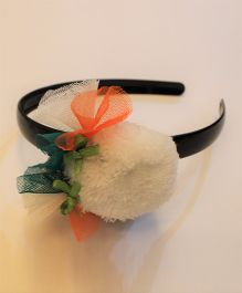 Many frocks & Tricolor Pony Bow Hairband - White