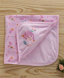 Simply Hooded Wrapper Kitty Design - Pink
