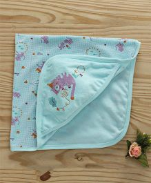 Simply Hooded Wrapper Kitty Design - Aqua Blue