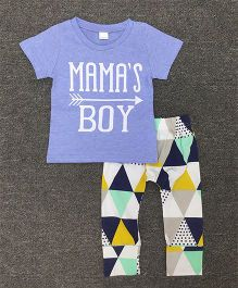 Pre Order - Awabox Mama's Boy Print Tee With Pants - Blue