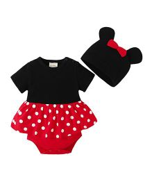 Pre Order - Awabox Frilled Onesie With Cap - Black & Red
