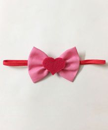 Knotty Ribbons Heart Bow Head Band -  Light Pink