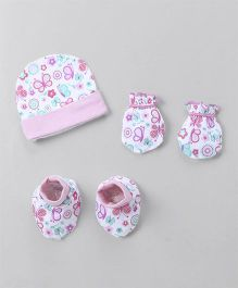 Ohms Basic Cap Mittens & Booties Set - Pink White