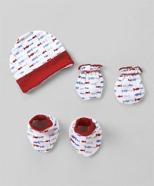Ohms Cap Mittens And Booties Set Fish Print - White & Red