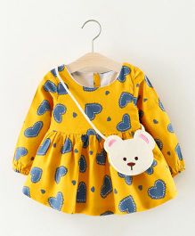 Pre Order - Tickles 4 U Full Sleeves Heart Printed Dress- Yellow