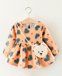 Pre Order - Tickles 4 U Full Sleeves Heart Printed Dress- Peach