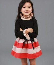 Pre Order - Tickles 4 U Full Sleeves Striped Dress- Black