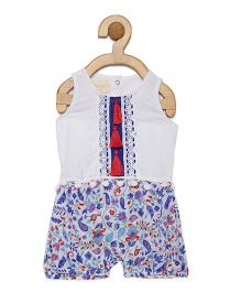Fairies Forever Little Sweetie Floral Romper - White & Blue