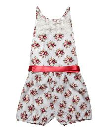 Fairies Forever Floral Romper Jumpsuit - White & Red