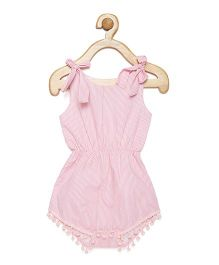 Fairies Forever Stripes Pom Pom Romper - Pink