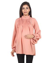 9teenAGAIN Woven Maternity Top  - Pink